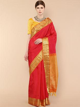 Red-Orange Handwoven Kanjivaram Silk Saree