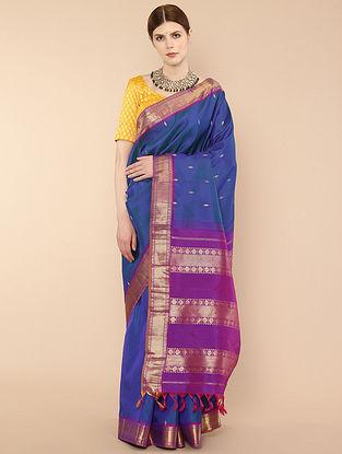 Blue-Purple Handwoven Kanjivaram Silk Saree