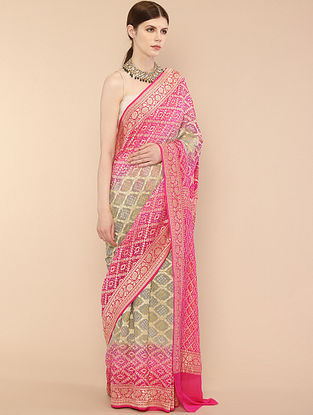 Pink-Grey Handwoven Benarasi Georgette Saree