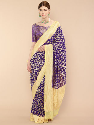 Purple-Yellow Handwoven Benarasi Georgette Saree
