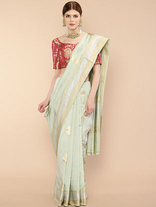 Pista Green Handwoven Benarasi Silk Saree