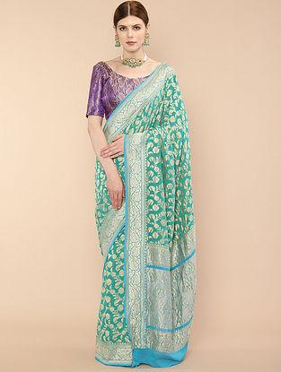 Turquoise Handwoven Benarasi Georgette Saree