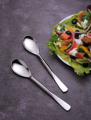 Silver Stainless Steel Table Spoon (Set of 6) (8in x 1.5in)