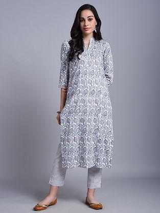 Grey Block Printed Cotton Kurta with Pants (Set of 2)
