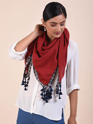 Red-Blue Block Printed Cotton voile Square Scarf