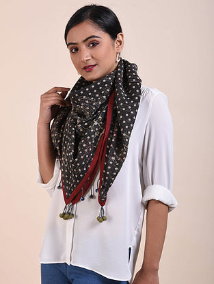 Black-Ivory Block Printed Cotton voile Square Scarf
