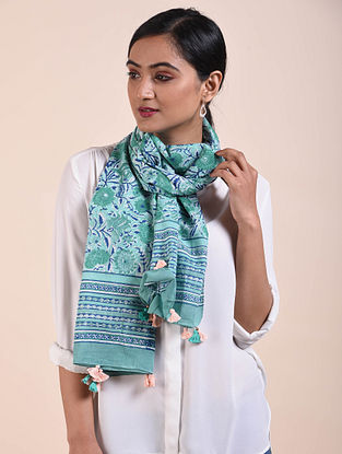 Green-Blue Block Printed Cotton Scarf