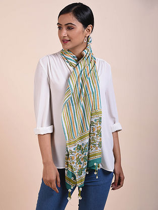 Green-Ivory Block Printed Cotton Scarf