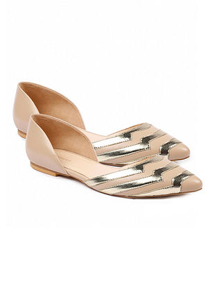 Nude Gold Handcrafted Leather Ballerinas