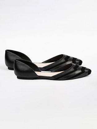 Black Handcrafted Suede Leather Ballerinas