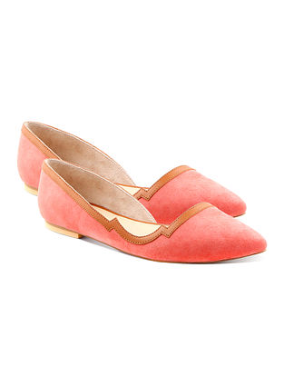 Peach Tan Handcrafted Suede Leather Ballerinas