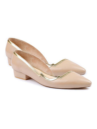 Nude Gold Handcrafted Leather Pumps