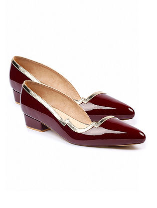 Maroon Gold Handcrafted Leather Pumps