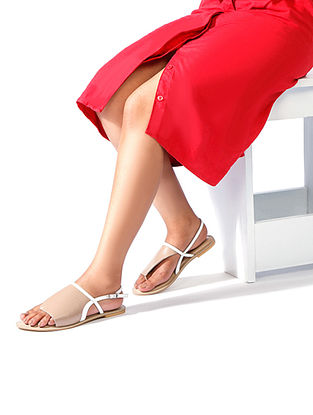 Nude-White Handcrafted Leather Sandals