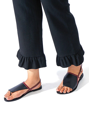 Black-Maroon Handcrafted Leather Sandals