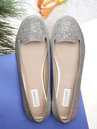 Silver Handcrafted Leather Shoes