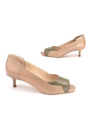 Olive & Nude Soft Handcrafted Leather Heels