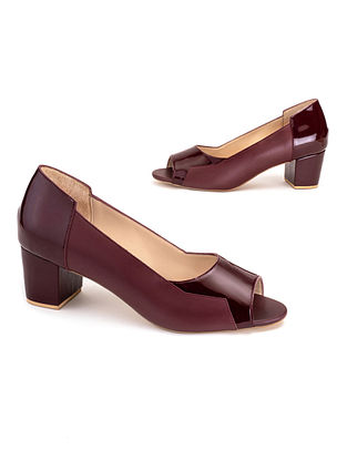 Maroon Soft and Patent Handcrafted Leather Heels