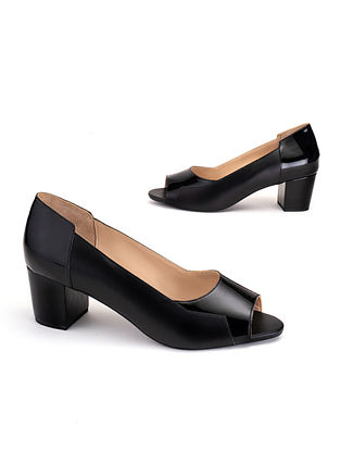 Black Soft and Patent Handcrafted Leather Heels