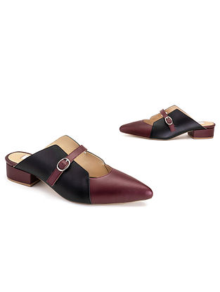 Maroon Black Soft Handcrafted Leather Heels