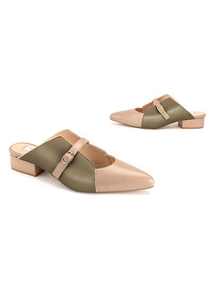 Nude & Olive Soft Handcrafted Leather Heels