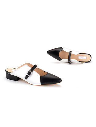 White Black Soft Handcrafted Leather Heels