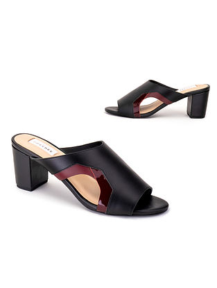 Black & Burgundy Soft & Patent Handcrafted Leather Heels