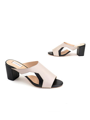 Grey & Black & White Soft Handcrafted Leather Heels