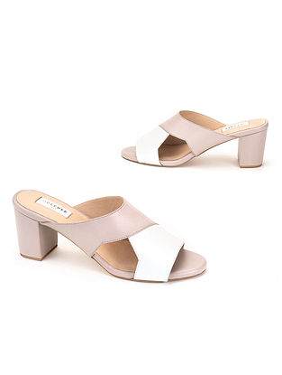 Grey White Soft Handcrafted Leather Heels