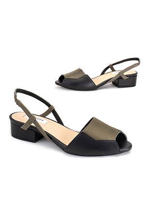 Black & Olive Soft Handcrafted Leather Heels