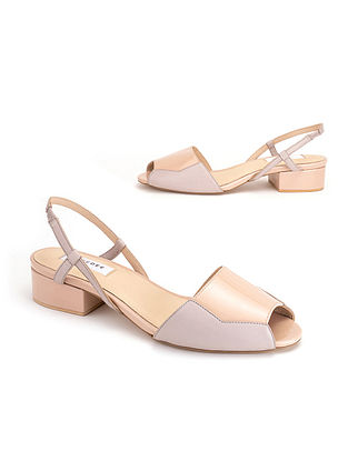 Grey Pink Soft and Patent Handcrafted Leather Heels