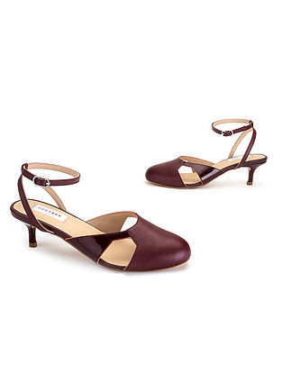 Maroon Soft & Patent Handcrafted Leather Heels