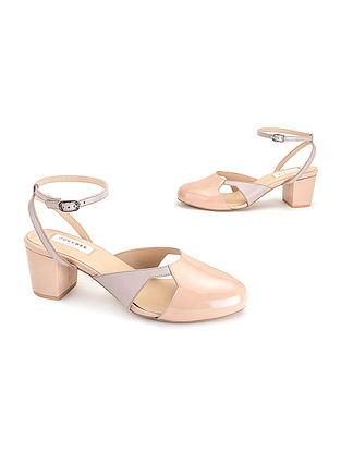 Pink & Grey Soft & Patent Handcrafted Leather Heels
