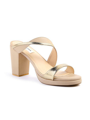 Nude Handcrafted Leather Block Heels