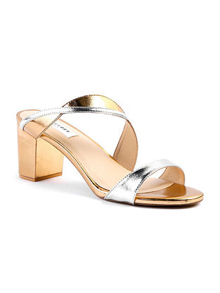 Silver Gold Handcrafted Foil Leather Block Heels