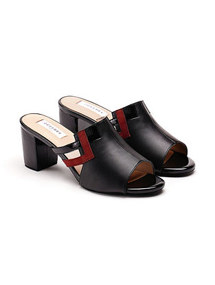 Black Rust Soft and Patent Handcrafted Leather Block Heels