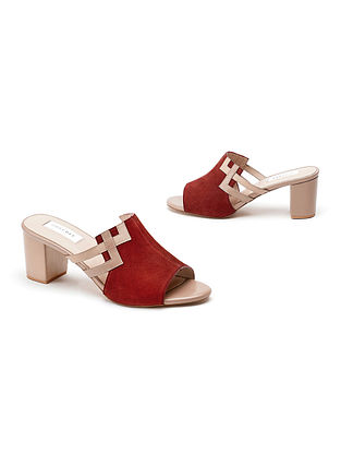 Rust Nude Soft and Patent Handcrafted Leather Block Heels
