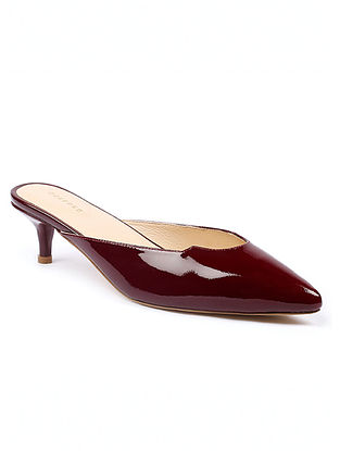 Maroon Handcrafted Patent Leather Heels