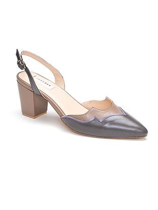 Grey Blue Handcrafted Soft And Patent Leather Block Heels