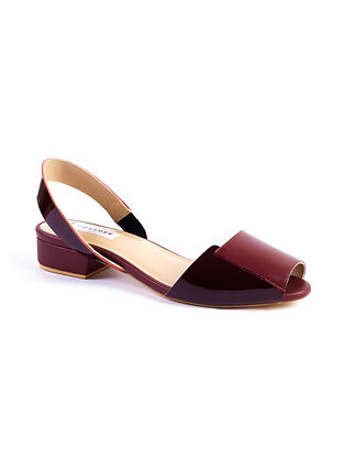 Maroon Handcrafted Soft and Patent Leather Block Heels