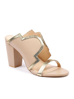 Nude Gold Handcrafted Soft Leather Block Heels