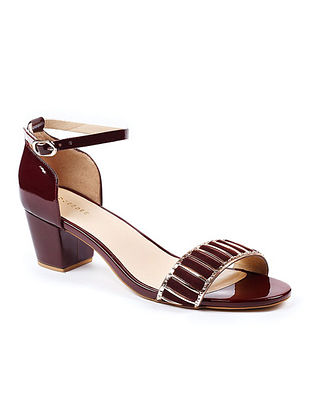 Maroon Gold Handcrafted Patent Leather Block Heels