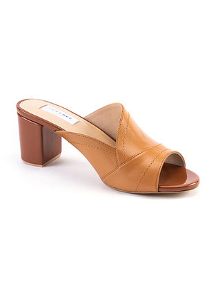 Tan Handcrafted Soft Leather Block Heels