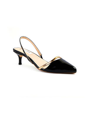 Black Handcrafted Soft and Patent Leather Heels