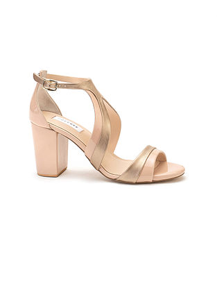 Pink Gold Handcrafted Soft and Patent Leather Block Heels