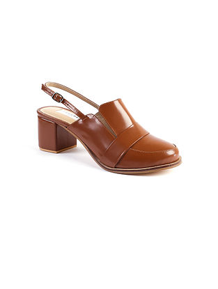 Tan Handcrafted Leather Block Heels