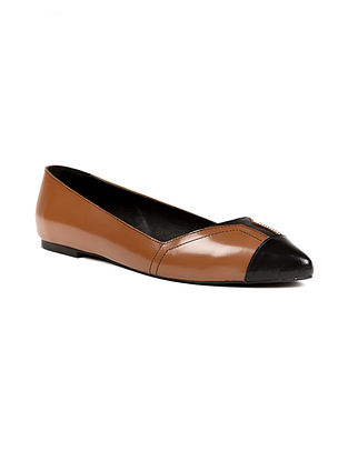 Tan Black Handcrafted Genuine Leather Shoes