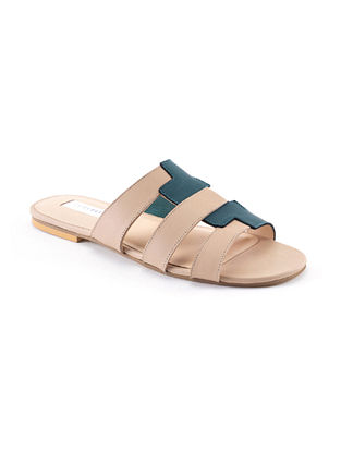 Nude Teal Handcrafted Genuine Leather Flats