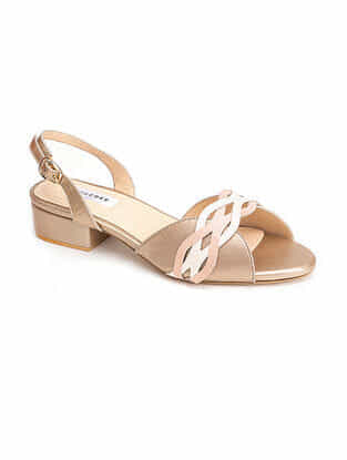 Dull Gold Pink Handcrafted Patent Leather Block Heels