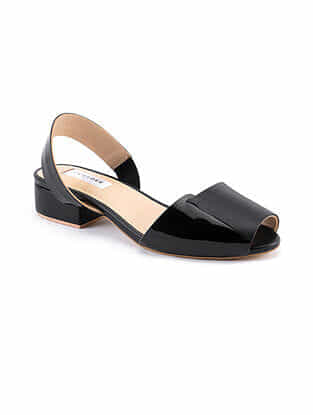 Black Handcrafted Patent Leather Block Heels